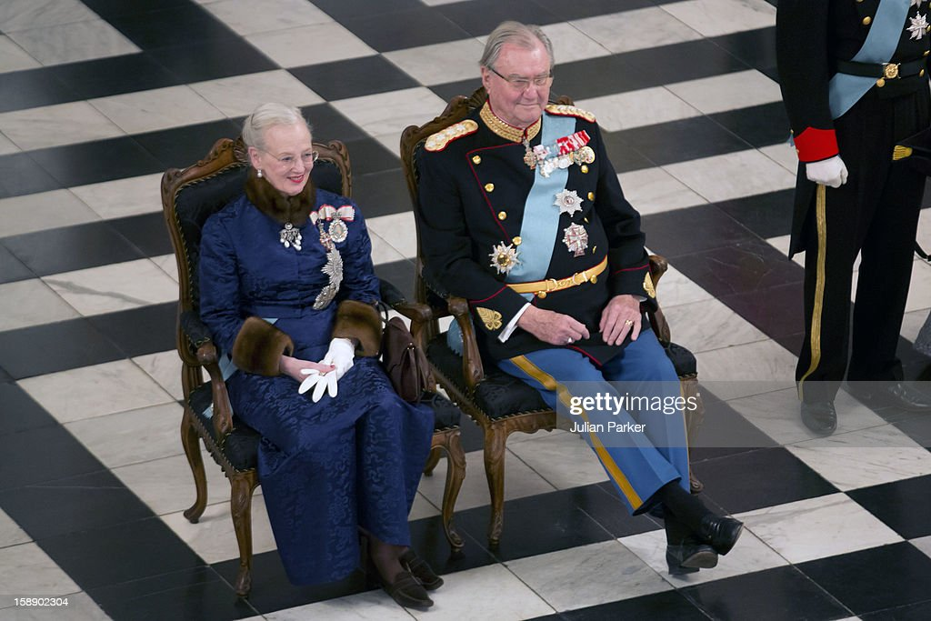 Queen Margrethe, and Prince Henrik of Denmark attend a New Year's Levee held by Queen Margrethe of Denmark for Diplomats, at Christiansborg Palace on January 3, 2013 in Copenhagen, Denmark.