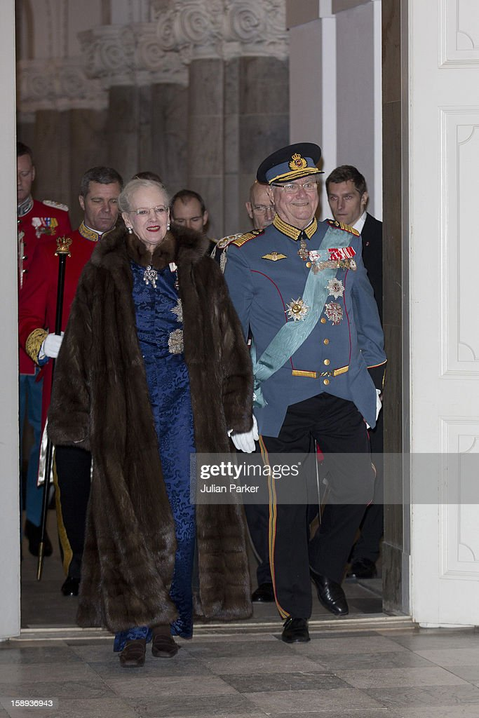 Queen Margrethe, and Prince Henrik of Denmark attend a New Year's Levee, for officers from the Defence and Danish Emergency management agency, and representatives from large national organizations, held by Queen Margrethe of Denmark at Christiansborg Palace on January 4, 2013 in Copenhagen, Denmark.