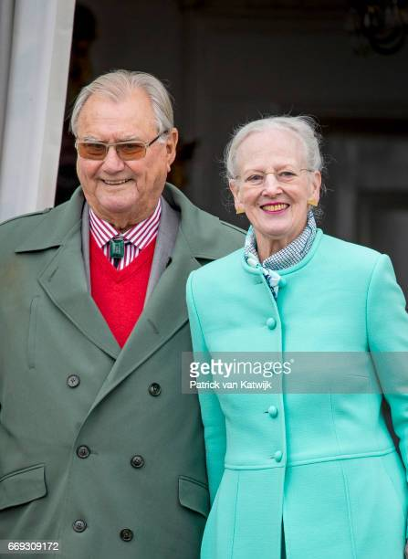 Queen Margrethe and Prince Henrik of Denmark attend her 77th birthday celebrations at Marselisborg Palace on April 16 2017 in Aarhus Denmark