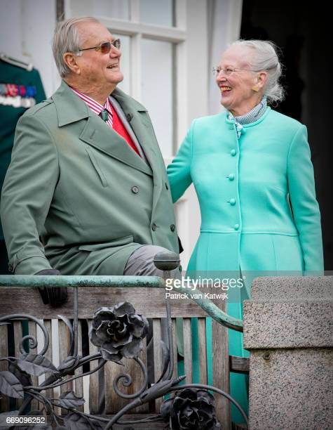 Queen Margrethe and Prince Henrik of Denmark attend the 77th birthday celebrations of Danish Queen Margrethe at Marselisborg Palace on April 16 2017...