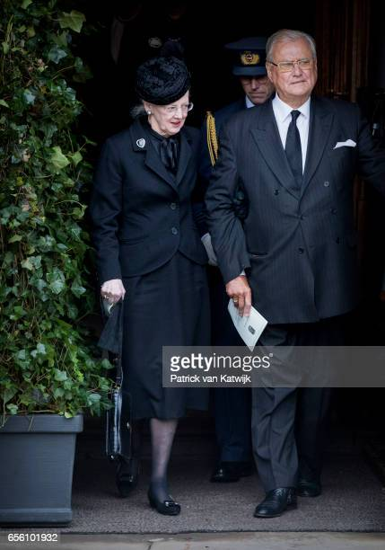 Queen Margrethe and Prince Henrik of Denmark attend the funeral of Prince Richard at the Evangelische Stadtkirche on March 21 2017 in Bad Berleburg...