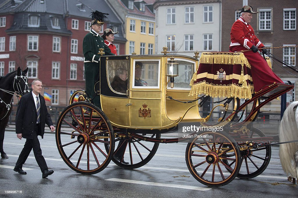 Queen Margrethe, and Prince Henrik of Denmark return to Amalienborg Palace in the Golden Carriage, after attending a New Year's Levee, held by Queen Margrethe of Denmark at Christiansborg Palace on January 4, 2013 in Copenhagen, Denmark.