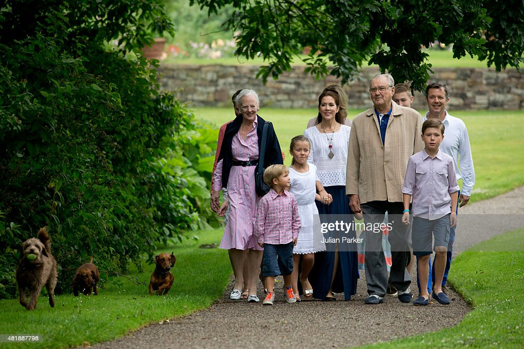 Queen Margrethe and Prince Henrik of Denmark with grandchildren and members of The Danish Royal Family attend the annual summer Photocall for The Danish Royal Family at Grasten Castle, on July 25, 2015 in Grasten, Denmark.