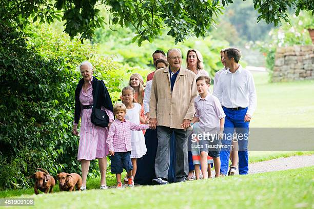 Queen Margrethe and Prince Henrik of Denmark with grandchildren and members of The Danish Royal Family attend the annual summer Photocall for The...