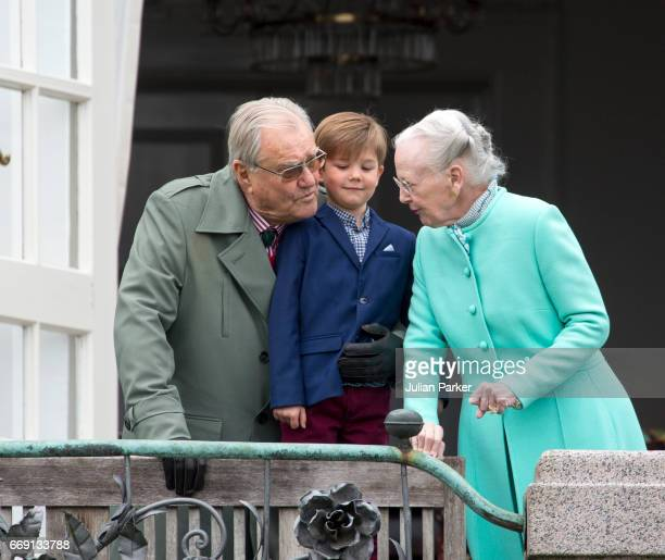 Queen Margrethe and Prince Henrik of Denmark with their grandson Prince Vincent of Denmark at Queen Margrethe of Denmark's 77th Birthday Celebrations...