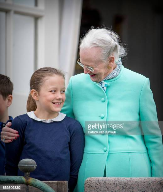 Queen Margrethe and Princess Isabella of Denmark attend the 77th birthday celebrations of Danish Queen Margrethe at Marselisborg Palace on April 16...