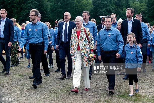 Queen Margrethe arrives to FDF summer camp in Ry Denmark on July 7 2016 The Queen and her entourage which includes Foreign Minister Kristian Jensen...