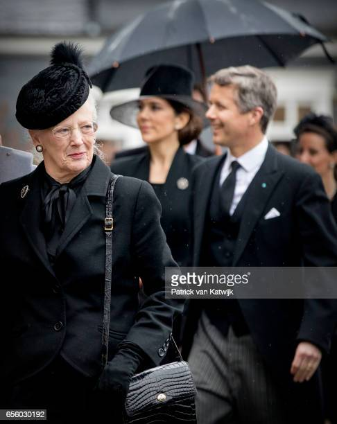 Queen Margrethe Crown prince Frederik and Crown Princess Mary of Denmark attend the funeral of Prince Richard at the Evangelische Stadtkirche on...