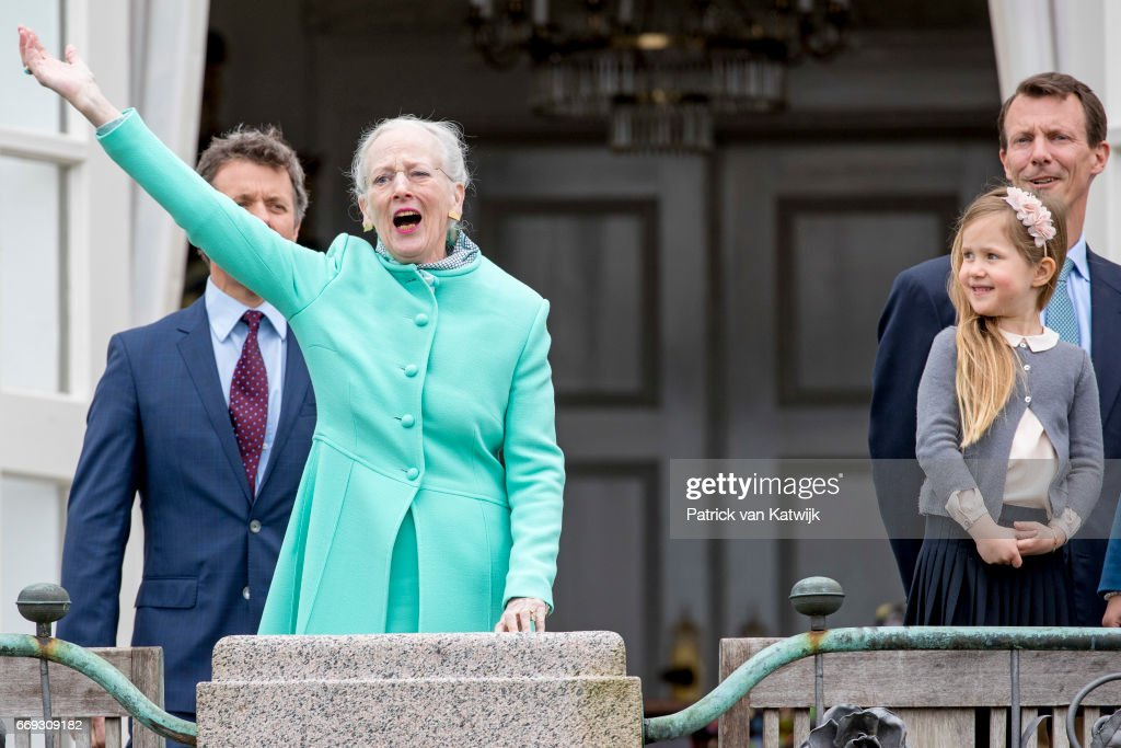 Queen Margrethe, Crown Prince Frederik, Prince Joachim and Princess Josephine of Denmark attend the 77th birthday celebrations of Danish Queen Margrethe at Marselisborg Palace on April 16, 2017 in Aarhus, Denmark.