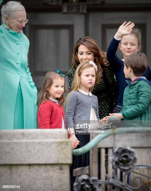 Queen Margrethe Crown Princess Mary Princess Isabella Princess Josephine Prince Henrik and Princess Athena of Denmark attend the 77th birthday...