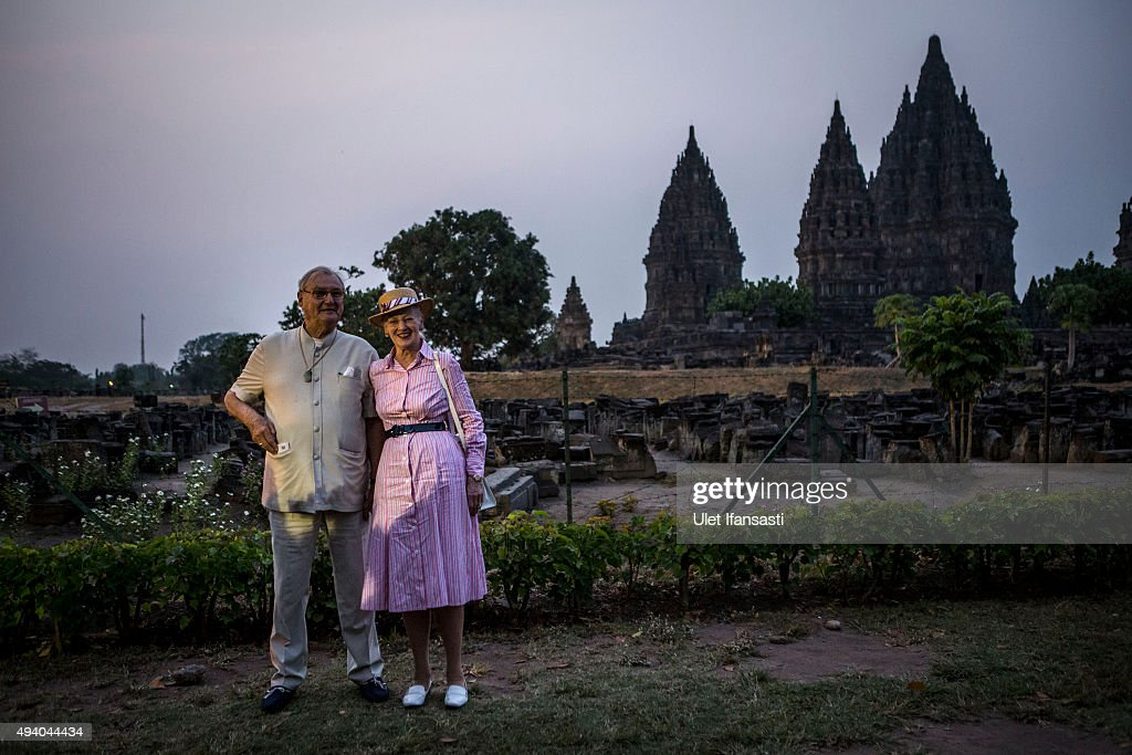 Queen Margrethe II of Denmark and her husband, Prince Henrik, pose for a photo during their visit at Prambanan temple on October 24, 2015 in Yogyakarta, Indonesia. Queen Margrethe II of Denmark and her husband, Prince Henrik, embarked upon a state visit to Indonesia to mark 65 years of diplomatic relations.