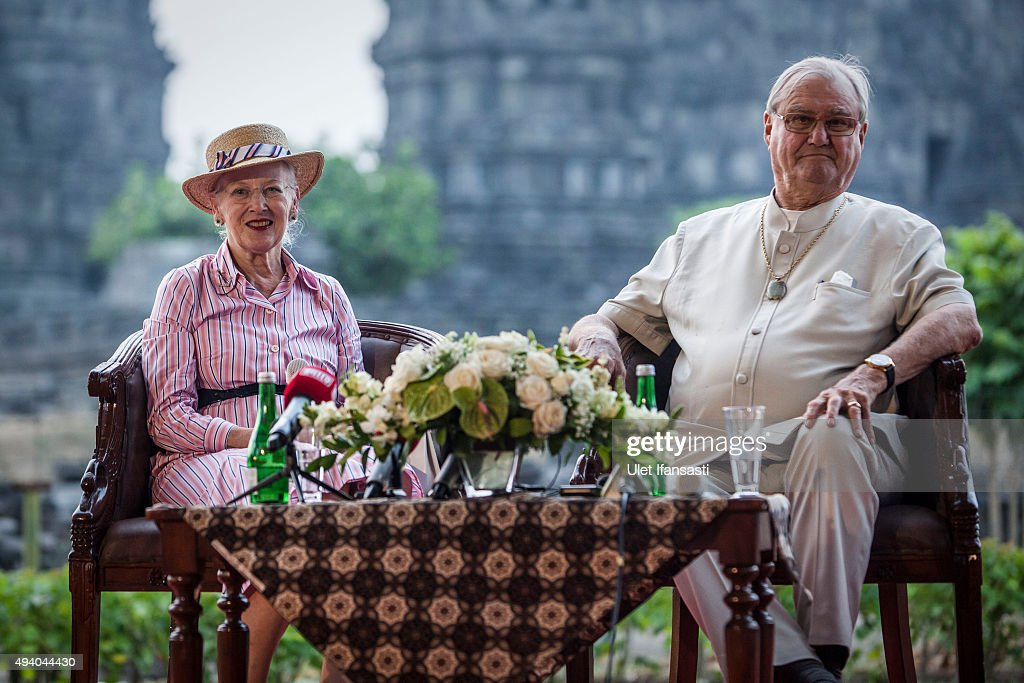 <a gi-track='captionPersonalityLinkClicked' href=/galleries/search?phrase=Queen+Margrethe+II+of+Denmark&family=editorial&specificpeople=171794 ng-click='$event.stopPropagation()'>Queen Margrethe II of Denmark</a> and her husband, Prince <a gi-track='captionPersonalityLinkClicked' href=/galleries/search?phrase=Henrik+-+Prince+Consort+of+Denmark+-+Born+1934&family=editorial&specificpeople=13898992 ng-click='$event.stopPropagation()'>Henrik</a> talk to journalist during their visit at Prambanan temple on October 24, 2015 in Yogyakarta, Indonesia. <a gi-track='captionPersonalityLinkClicked' href=/galleries/search?phrase=Queen+Margrethe+II+of+Denmark&family=editorial&specificpeople=171794 ng-click='$event.stopPropagation()'>Queen Margrethe II of Denmark</a> and her husband, Prince <a gi-track='captionPersonalityLinkClicked' href=/galleries/search?phrase=Henrik+-+Prince+Consort+of+Denmark+-+Born+1934&family=editorial&specificpeople=13898992 ng-click='$event.stopPropagation()'>Henrik</a>, embarked upon a state visit to Indonesia to mark 65 years of diplomatic relations.