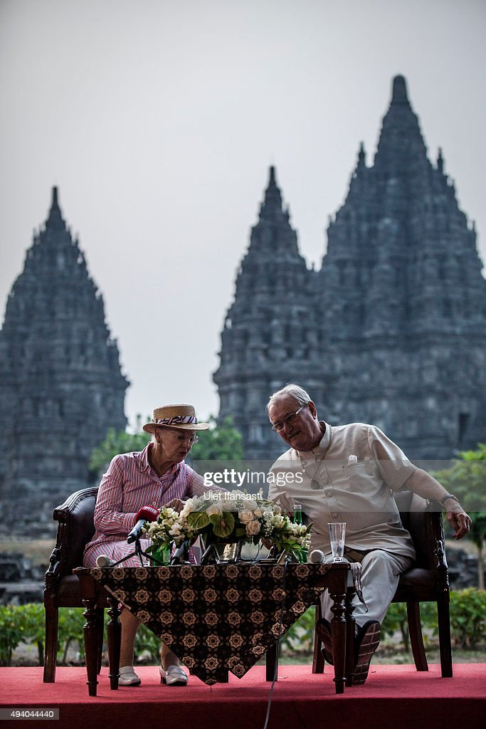 Queen Margrethe II of Denmark and her husband, Prince Henrik talk to journalist during their visit at Prambanan temple on October 24, 2015 in Yogyakarta, Indonesia. Queen Margrethe II of Denmark and her husband, Prince Henrik, embarked upon a state visit to Indonesia to mark 65 years of diplomatic relations.