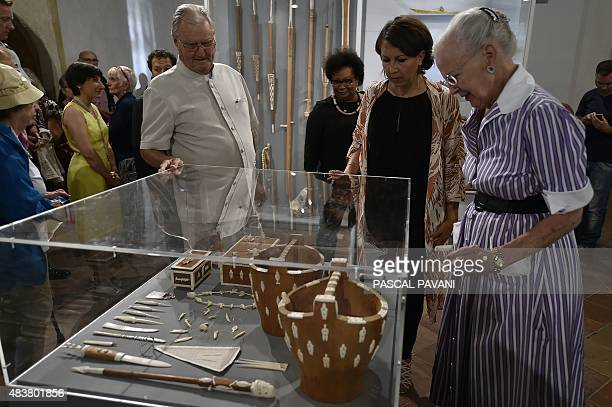 Queen Margrethe II of Denmark and her husband Prince Henrik visit an art exhibition by the Prince Consort entitled 'Pour lamour du Groenland' at the...