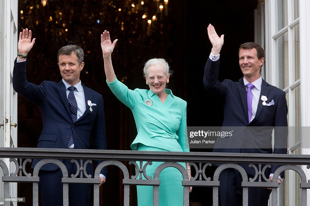 Queen Margrethe II of Denmark, and her sons Crown Prince Frederik of Denmark (L) and Prince Joachim of Denmark (R) appear on the Balcony of Amalienborg Palace on her 75th Birthday, on April 16, 2015 in Copenhagen, Denmark.