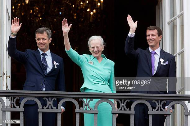 Queen Margrethe II of Denmark and her sons Crown Prince Frederik of Denmark and Prince Joachim of Denmark appear on the Balcony of Amalienborg Palace...