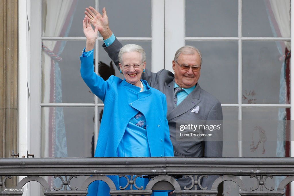 Queen Margrethe II of Denmark and husband Henrik, Prince Consort of Denmark attend the celebrations of her Majesty's 76th birthday at Amalienborg Royal Palace on April 16, 2016 in Copenhagen, Denmark.