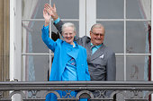 Queen Margrethe II of Denmark and husband Henrik Prince Consort of Denmark attend the celebrations of her Majesty's 76th birthday at Amalienborg...