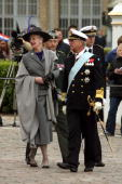 Queen Margrethe II of Denmark and King Carl XVI Gustaf of Sweden arrive at Toldbodgade Harbour on May 9 2007 in Copenhagen Denmark King Carl XVI...