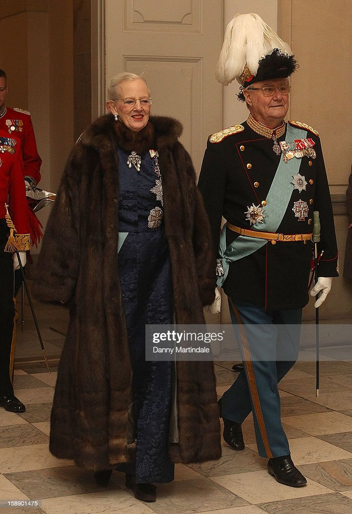 <a gi-track='captionPersonalityLinkClicked' href=/galleries/search?phrase=Queen+Margrethe+II+of+Denmark&family=editorial&specificpeople=171794 ng-click='$event.stopPropagation()'>Queen Margrethe II of Denmark</a> and Prince Consort Henrik of Denmark attends New Year's Levee held by Queen Margrethe of Denmark at Christian VII's Palace on January 3, 2013 in Copenhagen, Denmark.
