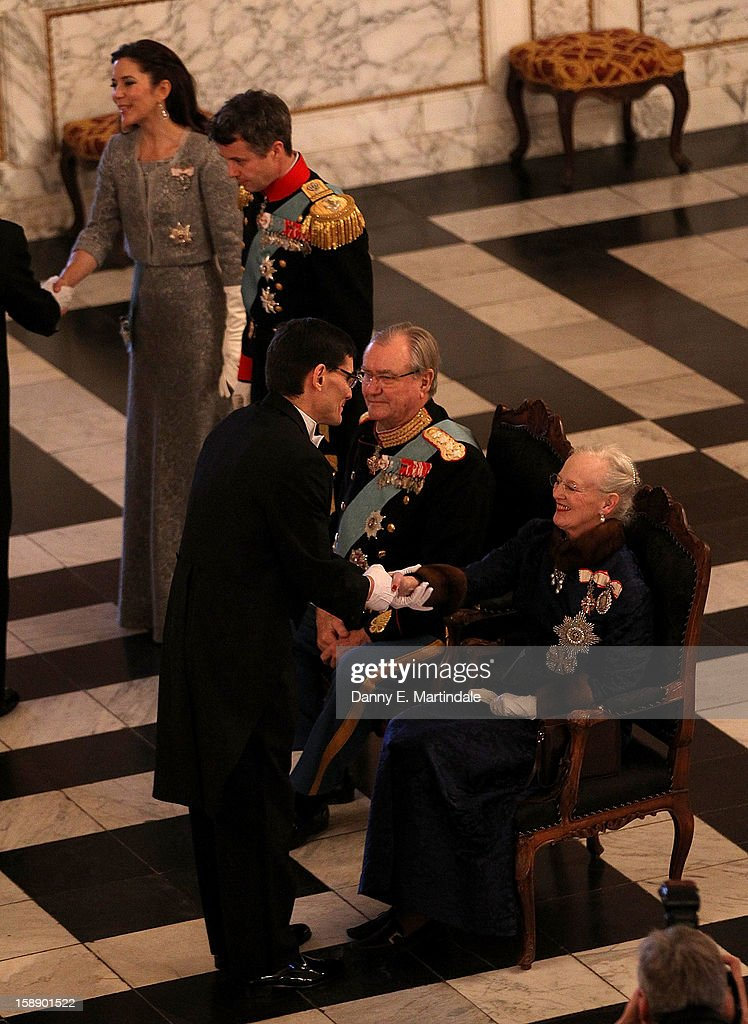 Queen Margrethe II of Denmark and Prince Consort Henrik of Denmark, Crown Prince Frederik, and Crown Princess Mary of Denmark attend New Year's Levee held by Queen Margrethe of Denmark at Christian VII's Palace on January 3, 2013 in Copenhagen, Denmark.