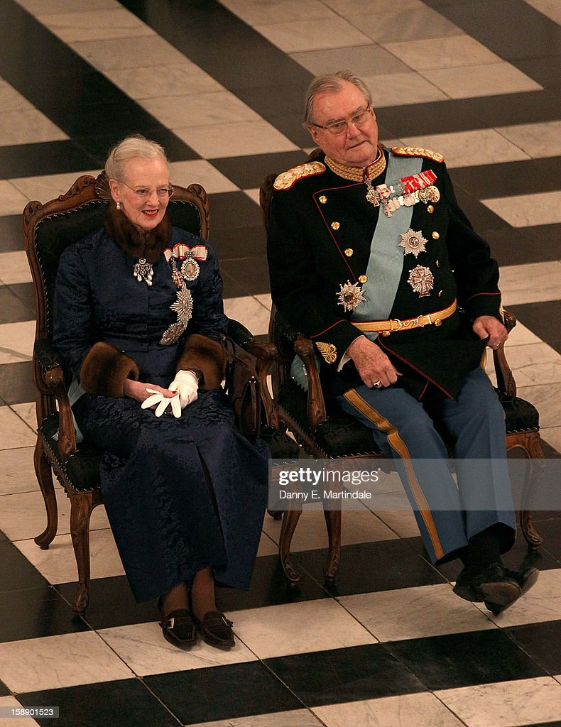 <a gi-track='captionPersonalityLinkClicked' href=/galleries/search?phrase=Queen+Margrethe+II+of+Denmark&family=editorial&specificpeople=171794 ng-click='$event.stopPropagation()'>Queen Margrethe II of Denmark</a> and Prince Consort Henrik of Denmark attend New Year's Levee held by Queen Margrethe of Denmark at Christian VII's Palace on January 3, 2013 in Copenhagen, Denmark.
