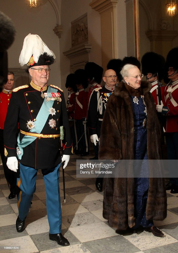 Queen Margrethe II of Denmark and Prince Consort Henrik of Denmark attend New Year's Levee held by Queen Margrethe of Denmark at Christian VII's Palace on January 3, 2013 in Copenhagen, Denmark.