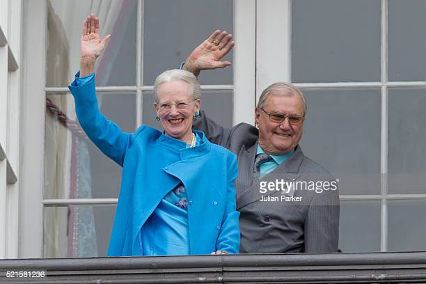 Queen Margrethe II of Denmark and Prince Henrik of Denmark attend Queen Margrethe's 76th Birthday Celebration at Amalienborg Palace on April 16 in...