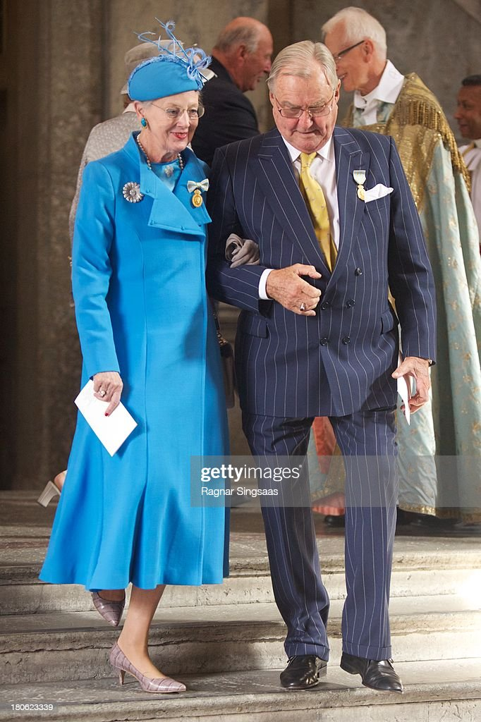 <a gi-track='captionPersonalityLinkClicked' href=/galleries/search?phrase=Queen+Margrethe+II+of+Denmark&family=editorial&specificpeople=171794 ng-click='$event.stopPropagation()'>Queen Margrethe II of Denmark</a> and Prince Henrik of Denmark attend Te Deum Thanksgiving Service To Celebrate King Carl Gustaf's 40th Jubilee at The Royal Palace on September 15, 2013 in Stockholm, Sweden.