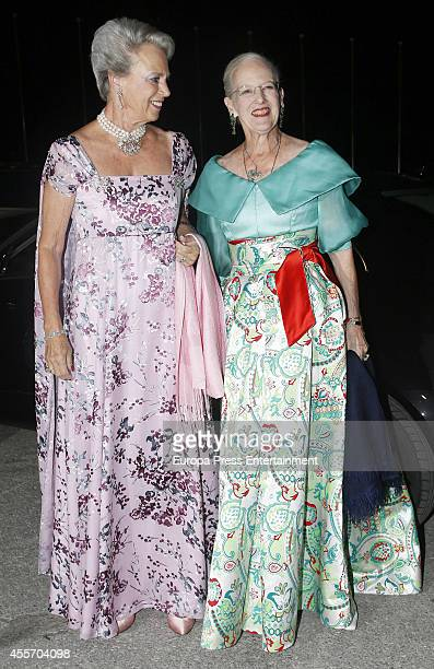 Queen Margrethe II of Denmark and Princess Benedikte of Denmark attend private dinner to celebrate the Golden Wedding Anniversary of King Constantine...