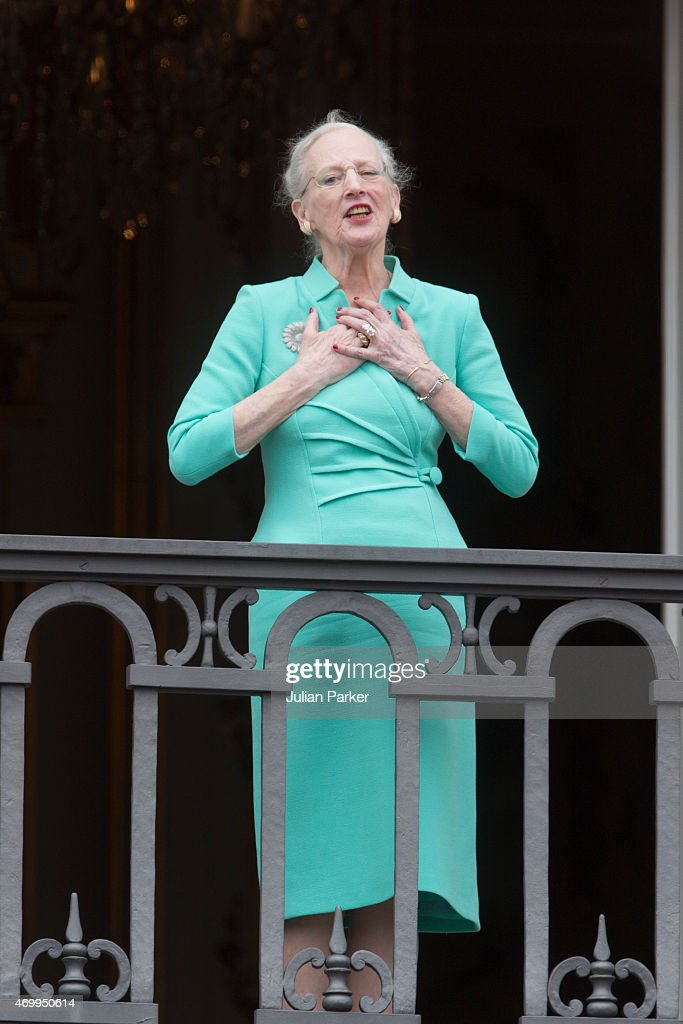 <a gi-track='captionPersonalityLinkClicked' href=/galleries/search?phrase=Queen+Margrethe+II+of+Denmark&family=editorial&specificpeople=171794 ng-click='$event.stopPropagation()'>Queen Margrethe II of Denmark</a> appears on the Balcony of Amalienborg Palace on her 75th Birthday, on April 16, 2015 in Copenhagen, Denmark.