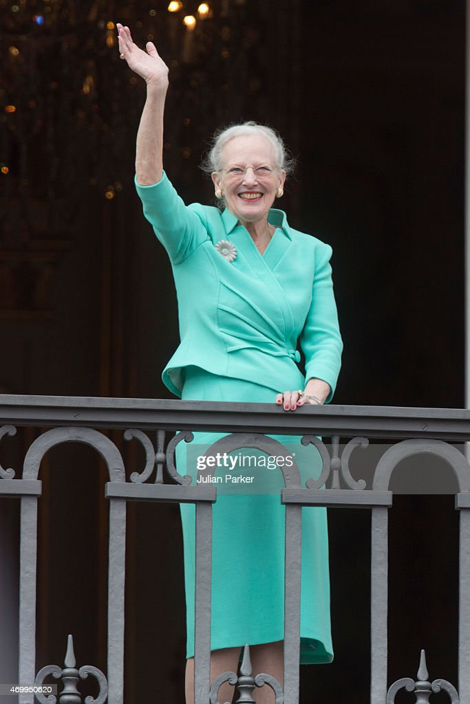 Queen Margrethe II of Denmark appears on the Balcony of Amalienborg Palace on her 75th Birthday, on April 16, 2015 in Copenhagen, Denmark.