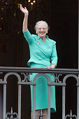 Queen Margrethe II of Denmark appears on the Balcony of Amalienborg Palace on her 75th Birthday on April 16 2015 in Copenhagen Denmark