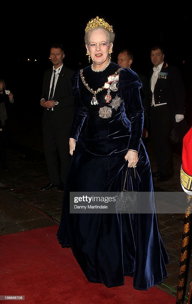 <a gi-track='captionPersonalityLinkClicked' href=/galleries/search?phrase=Queen+Margrethe+II+of+Denmark&family=editorial&specificpeople=171794 ng-click='$event.stopPropagation()'>Queen Margrethe II of Denmark</a> arrives at a New Year's Banquet hosted by Queen Margrethe of Denmark at Christian VII's Palace on January 1, 2013 in Copenhagen, Denmark.
