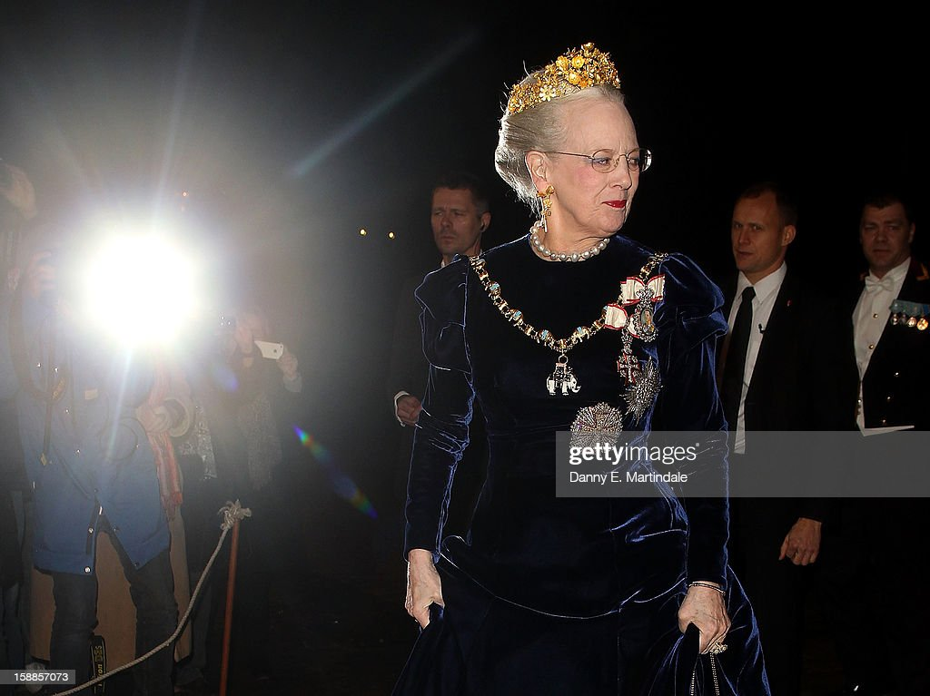Queen Margrethe II of Denmark arrives at a New Year's Banquet hosted by Queen Margrethe of Denmark at Christian VII's Palace on January 1, 2013 in Copenhagen, Denmark.