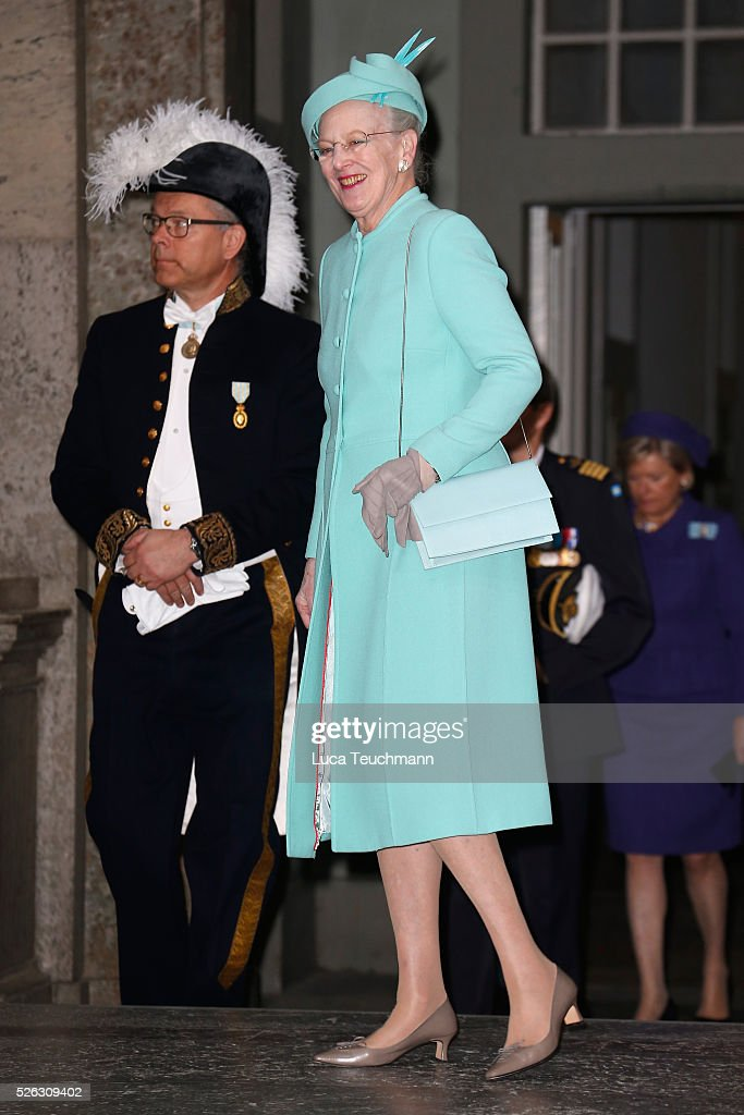 Queen Margrethe II of Denmark arrives at the Royal Palace to attend Te Deum Thanksgiving Service to celebrate the 70th birthday of King Carl Gustaf of Sweden on April 30, 2016 in Stockholm, Sweden.