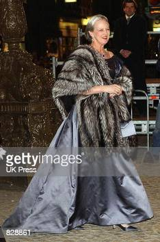 Queen Margrethe II of Denmark attends a dinner and party at the Royal Palace in honor of the wedding of Dutch Crown Prince WillemAlexander and Maxima...