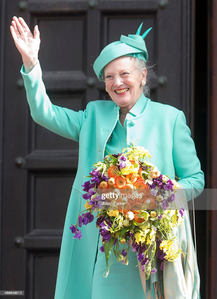 Queen Margrethe II of Denmark attends a reception at Copenhagen Town Hall for her 75th Birthday on April 16 2015 in Copenhagen Denmark