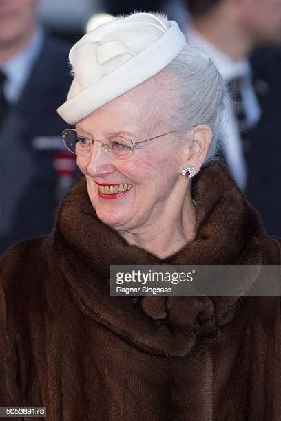 Queen Margrethe II of Denmark attends the 25th anniversary of King Harald V and Queen Sonja of Norway as monarchs on January 17 2016 in Oslo Norway