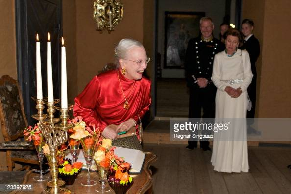 Queen Margrethe II of Denmark attends the official banquet i honour of the 200th anniversary of The University at Oslo Akershus Castle on September 2...