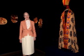 M Queen Margrethe II of Denmark attends the opening of her own exhibition 'Wild Swans' at the Museo Nazionale Romano of Palazzo Massimo alle Terme on...