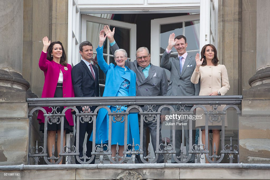 Queen Margrethe II of Denmark celebrates her 76th Birthday with, ( l to r ) Crown Princess Mary of Denmark and Crown Prince Frederik of Denmark, Queen Margrethe II of Denmark, Prince Henrik of Denmark, Prince Joachim and Princess Marie of Denmark, at Amalienborg Palace, on April 16, 2016, in Copenhagen, Denmark