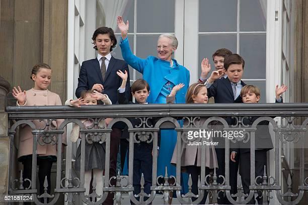 Queen Margrethe II of Denmark celebrates her 76th Birthday with her grandchildren Princess IsabellaPrince Nikolai Princess Athena Prince Henrik...