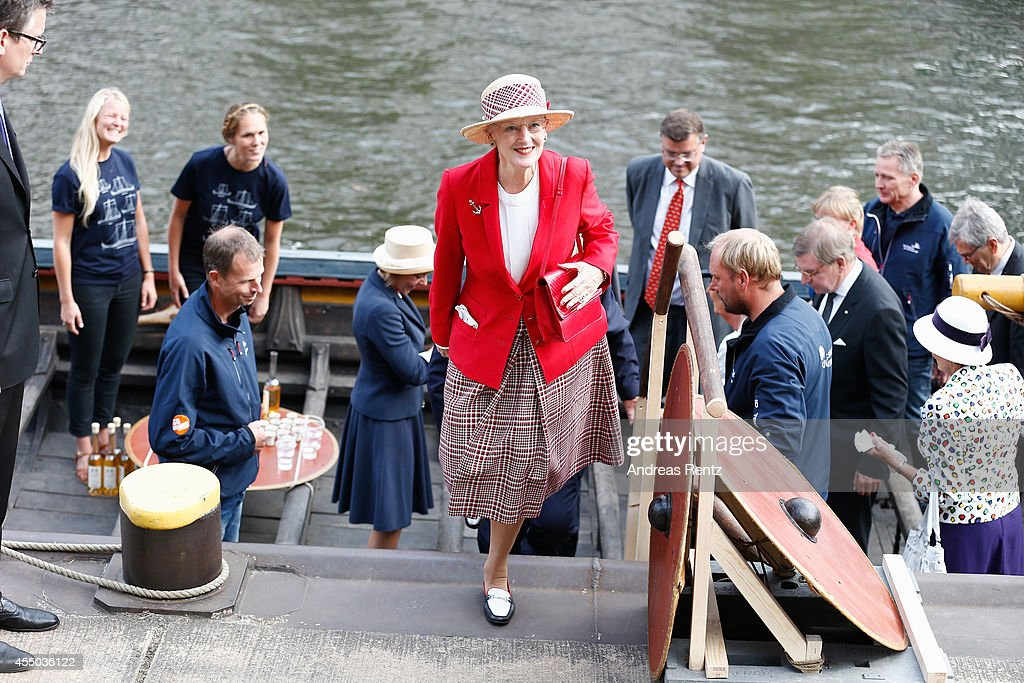 Queen Margrethe II of Denmark departs the remake of a Viking ship on September 9, 2014 in Berlin, Germany. Queen Margrethe is in Berlin on a two-day visit, during which she will open an exhibition about the Vikings at Martin-Gropius-Bau.