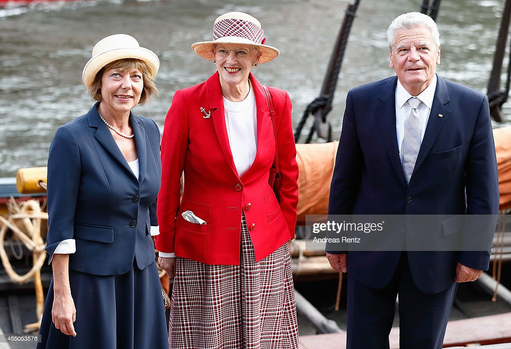 <a gi-track='captionPersonalityLinkClicked' href=/galleries/search?phrase=Queen+Margrethe+II+of+Denmark&family=editorial&specificpeople=171794 ng-click='$event.stopPropagation()'>Queen Margrethe II of Denmark</a> (C), German President <a gi-track='captionPersonalityLinkClicked' href=/galleries/search?phrase=Joachim+Gauck&family=editorial&specificpeople=2077888 ng-click='$event.stopPropagation()'>Joachim Gauck</a> (R) and German First Lady <a gi-track='captionPersonalityLinkClicked' href=/galleries/search?phrase=Daniela+Schadt&family=editorial&specificpeople=7055235 ng-click='$event.stopPropagation()'>Daniela Schadt</a> look on upon their arrival to board the remake of a Viking ship on September 9, 2014 in Berlin, Germany. Queen Margrethe is in Berlin on a two-day visit, during which she will open an exhibition about the Vikings at Martin-Gropius-Bau.