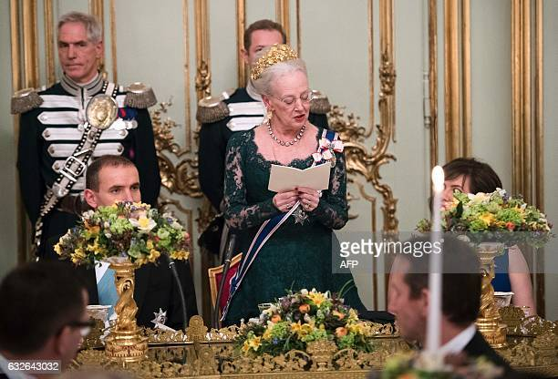 Queen Margrethe II of Denmark gives a speech during a Gala Dinner for Iceland's President Gudni Johannesson at Amalienbog Castle in Copenhagen...