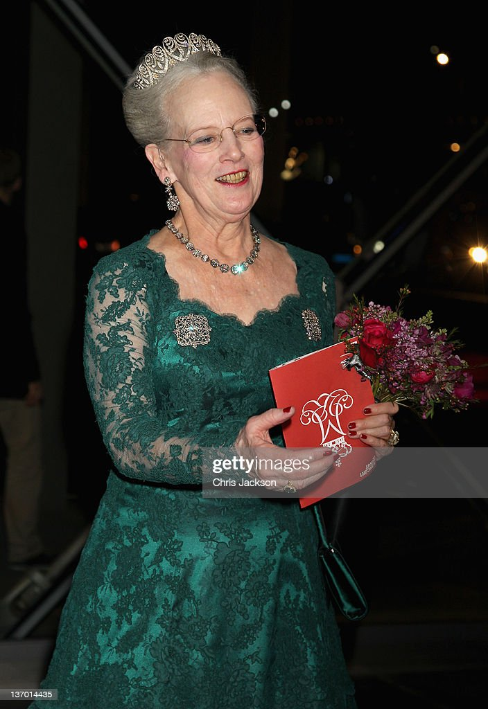 Queen Margrethe II of Denmark leaves a Gala Performance at the DR Concert Hall to celebrate 40 years on the throne at City Hall on January 14, 2012 in Copenhagen, Denmark.