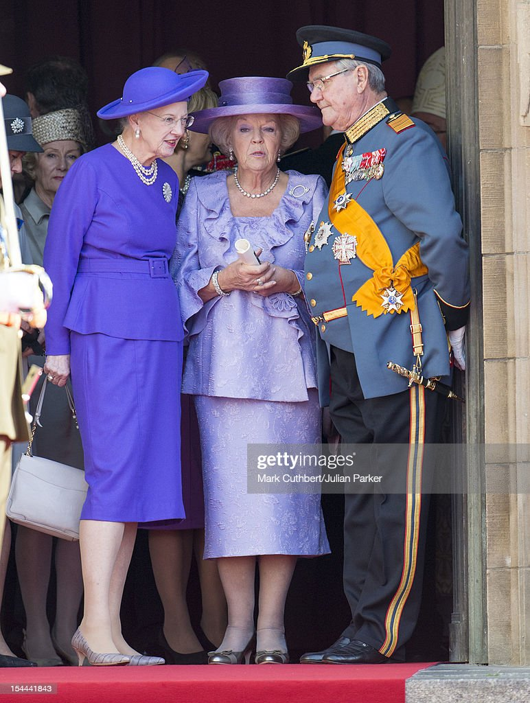 <a gi-track='captionPersonalityLinkClicked' href=/galleries/search?phrase=Queen+Margrethe+II+of+Denmark&family=editorial&specificpeople=171794 ng-click='$event.stopPropagation()'>Queen Margrethe II of Denmark</a>, Queen <a gi-track='captionPersonalityLinkClicked' href=/galleries/search?phrase=Beatrix+of+the+Netherlands&family=editorial&specificpeople=92396 ng-click='$event.stopPropagation()'>Beatrix of the Netherlands</a> and Prince Henrik of Denmark attend the wedding ceremony of Prince Guillaume Of Luxembourg and Stephanie de Lannoy at the Cathedral of our Lady of Luxembourg on October 20, 2012 in Luxembourg, Luxembourg. The 30-year-old hereditary Grand Duke of Luxembourg is the last hereditary Prince in Europe to get married, marrying his 28-year-old Belgian Countess bride in a lavish 2-day ceremony.
