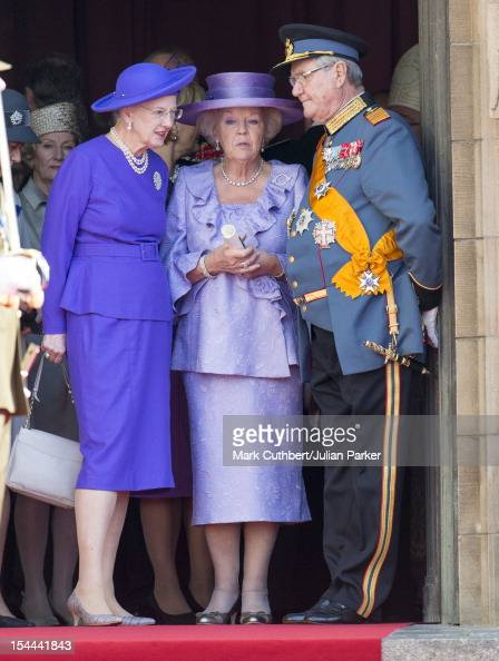 Queen Margrethe II of Denmark Queen Beatrix of the Netherlands and Prince Henrik of Denmark attend the wedding ceremony of Prince Guillaume Of...