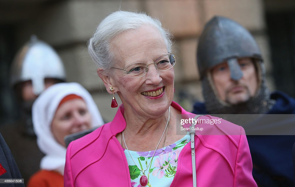 Queen Margrethe II of Denmark smiles as she arrives for a reception in her honour at the Berlin State Parliament building after she opened an...